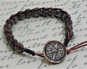 Leather and Bead Bracelet (516)  25% off
