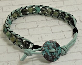Leather and Bead Bracelet (514)  50% off
