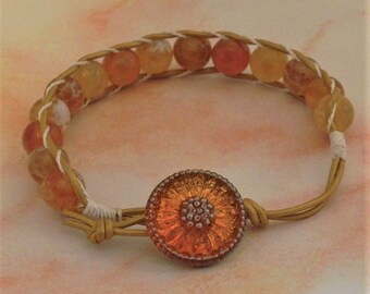 Leather and Bead Bracelet (512)  25% off