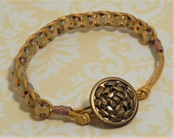 Leather and Bead Bracelet (509)  50% off