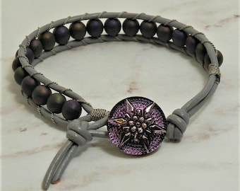 Leather and Bead Bracelet (519)  25% off