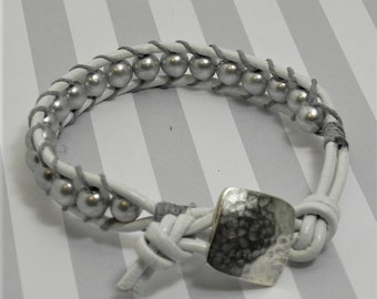 Leather and Bead Bracelet (518)  50% off