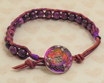 Leather and Bead Bracelet (515)  25% off