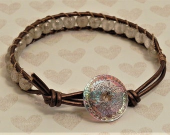 Leather and Bead Bracelet (517)  25% off