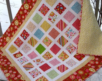 RESERVED Simply HELLO SUNSHINE 110 x 98 quilt in red, pink, yellow, orange, lime, robins egg blue