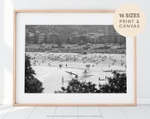 Black and White Beach Photography, Crowded Beach on a Summers Day, Ocean Sea Summer, Surf Decor, Large Scale Photo, Ocean Art, Seascape Art