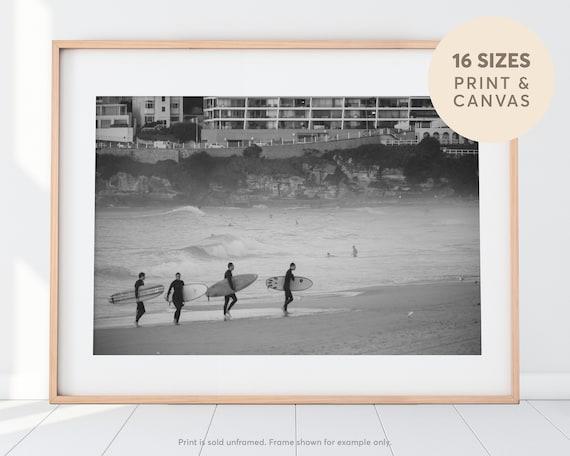 Bondi beach beach poster Ocean photography Beach print surfing print Beach photography Black and white photography surfers photo