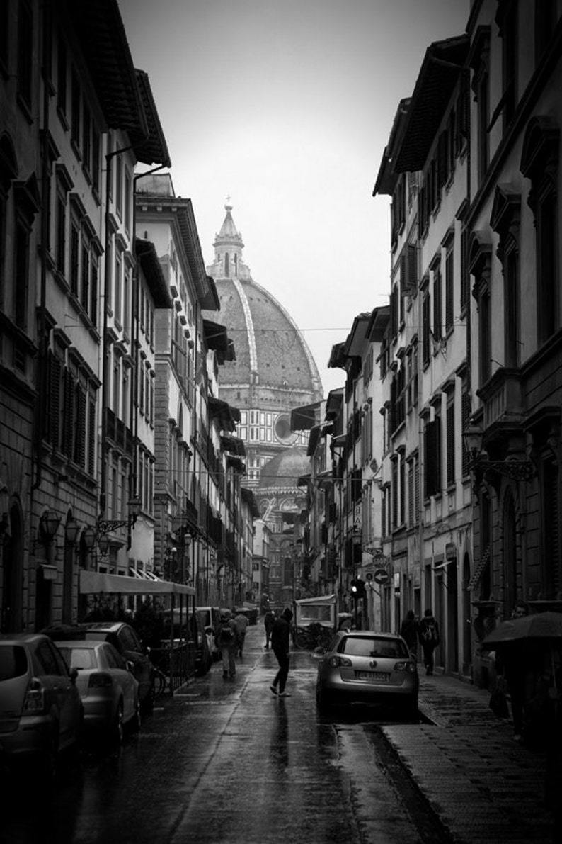 Black and white street photography rainy day in florence italy walking to the duomo black and white architecture photos vintage decor