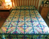 Handcrafted Full/Twin patchwork batik bed quilt teal golds greens rose