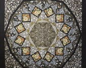 Quilted Mandala Kaleidoscope Lap Robe Wall Hanging Tablecloth black gray gold