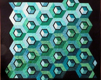 Geometric Quilted Wall Hanging Couch throw aquas greens teals black