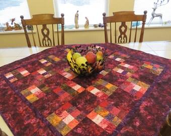 Deep Crimson Quilted Batik Lap quilt Tablecloth