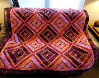 Bold Crimson Pink Peach Red Batik Quilted Couch Throw Tablecloth Bed Topper Hand Made Geometric Patchwork