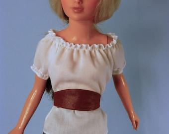 Doll Peasant Blouse top, Cummerbund, sewing pattern, 18 inch  slim doll, BFC Ink, Supersize Barbie, Tiffany Taylor. teen, lady fashion dolls