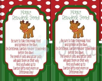 Magic Reindeer Food Instant Download, Food tag, Kid gift stickers
