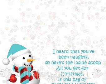 Snowman Poop Treat Bag Topper  DIY Printable