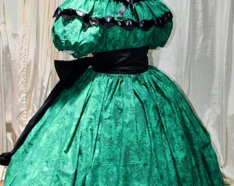 5d8def121a0 CLEARANCE One of a Kind Ready Made civil war Victorian Inspired ballgown  dress green cotton Small Medium LG XLG