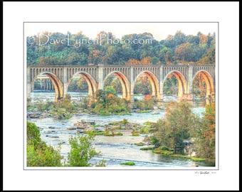 Richmond VA Virginia - CSX Railway Bridge - Scenic - James River - Sunset - Art Prints by Richmond VA  Photog Dave Lynch