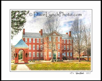 Farmville Virginia VA  - Hampden Sydney College - Bell Tower - Morton Hall - In Color - Black & White - Art Photography Print by Dave Lynch