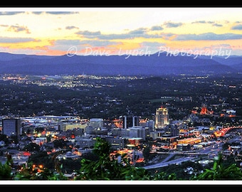 Roanoke Virginia Skyline After Dark  - From The Star - Fine Art Photography print by Dave Lynch