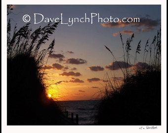Sunrise Over The Dunes - OBX Hatteras Island Outer Banks Rodanthe NC - Art Photography by Dave Lynch- FREE sHIPPING on additional items