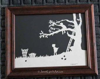 Boy and Girl Picking Apples  - Children - Farm - Country - Scherenschnitte - Hand Paper Cutting Art signed and dated By Janet Lynch - Framed