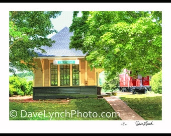 Sweet Briar Depot and Caboose - Sweet Briar College - Amherst VA - Color - Sepia - Black and White - by Richmond VA Photographer Dave Lynch