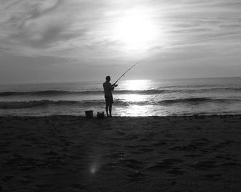 Fishing at dawn - Fathers Day - OBx-  Hatteras Island NC - Black & White Photography by Dave Lynch - FREE SHIPPING on any additional items