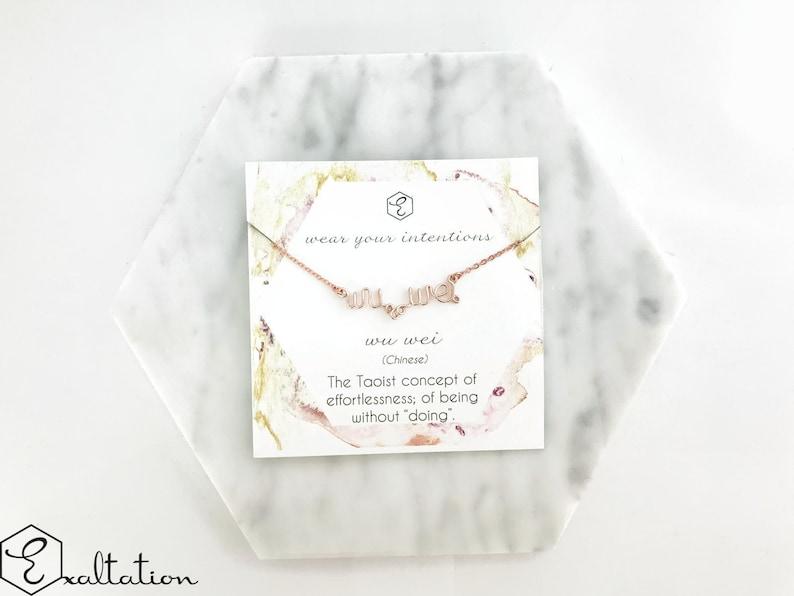 Wu Wei Bracelet - Taoist Philosophy Inspirational Jewelry - Meaningful Gift  - Spiritual Bracelet - Handwriting jewelry Mantra Bracelet Gift