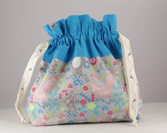 Knitting project bag ex-small Into the woods print sock shawl drawstring bag