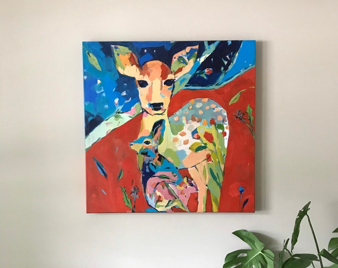 Featured listing image: Daily Discoveries: Large Painting with Deer, Bunny, and Squirrel