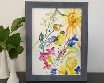 I Spy Something Yellow: Original Watercolor