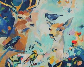 Steady: Art Print of Original Painting of Buck and Doe