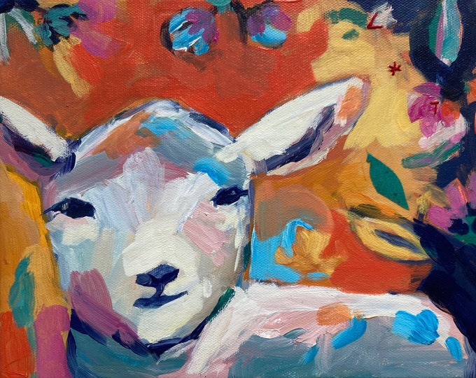 Featured listing image: Find Rest: Original Lamb Painting