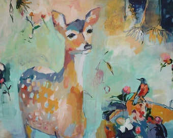 Overflowing Joy, Large Scale Fine Art Print of a Deer Painting by Megan Leong
