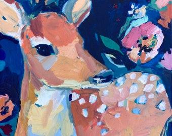 Happy Thoughts: Original Deer Painting