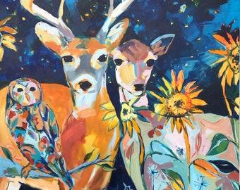 Holding Onto Wonder, large doe and buck painting