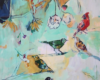 Matching Game, Large Scale Fine Art Print of Bird Painting by Megan Leong