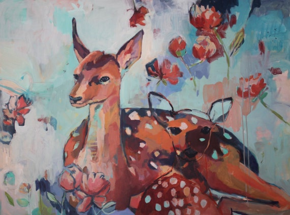 Large Original Painting of Deer: Next to Mom