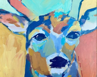 Fall is Coming: Abstact Deer Painting