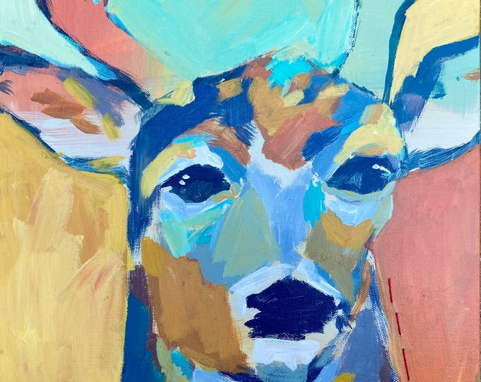 Featured listing image: Fall is Coming: Abstact Deer Painting