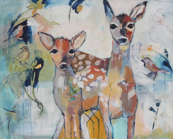 Goodbye Winter: Large Original Painting Deer