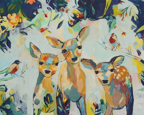 Journey Together, Large Scale Fine Art Print of Three Deer by Megan Leong