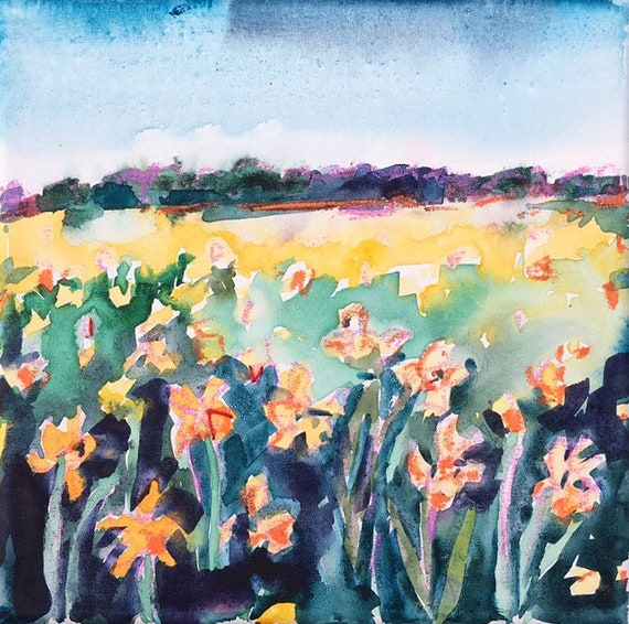 Daffodils are in Bloom: Original Watercolor on Canvas