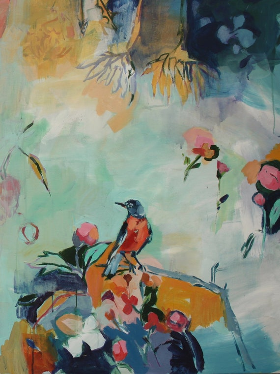 Spring Robin, Large Scale Fine Art Print of Floral Painting by Megan Leong