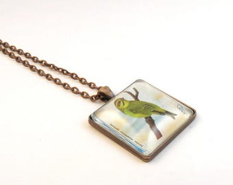 Bird Necklace, Bird Postage Stamp Necklace,Yellow Fronted Canary Necklace, Postage Stamp Jewelry, Vintage Postage Stamp, C128