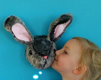 Bunny head sewing pattern. Bob the Bunny. Rabbit trophy head. Faux taxidermy. Modern wall decor. Animal head pdf pattern.
