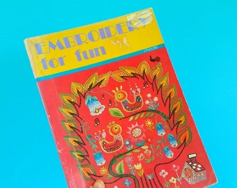 Ondori Embroidery patterns book. Vintage Japanese craft book.  Flower, animals, instruments, bouquet designs. Kawaii embroidery patterns.