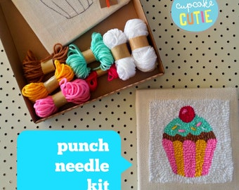 Punch needle kit. Cupcake. Monks cloth fabric canvas frame, adjustable punch needle tool, yarn and instructions. Beginners, kids.