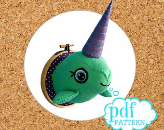 Narwhal softie pattern. Faux taxidermy pdf sewing pattern. Hand sew your own Unicorn of the sea. Narwhal plush wall mount. Kids room decor.